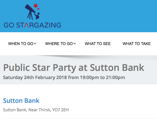 Public Star Party at Sutton Bank