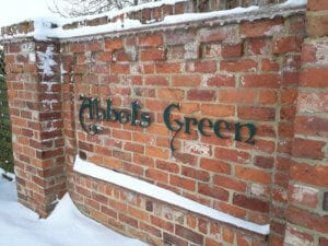 The entrance to Abbots Green covered in snow in North Yorkshire